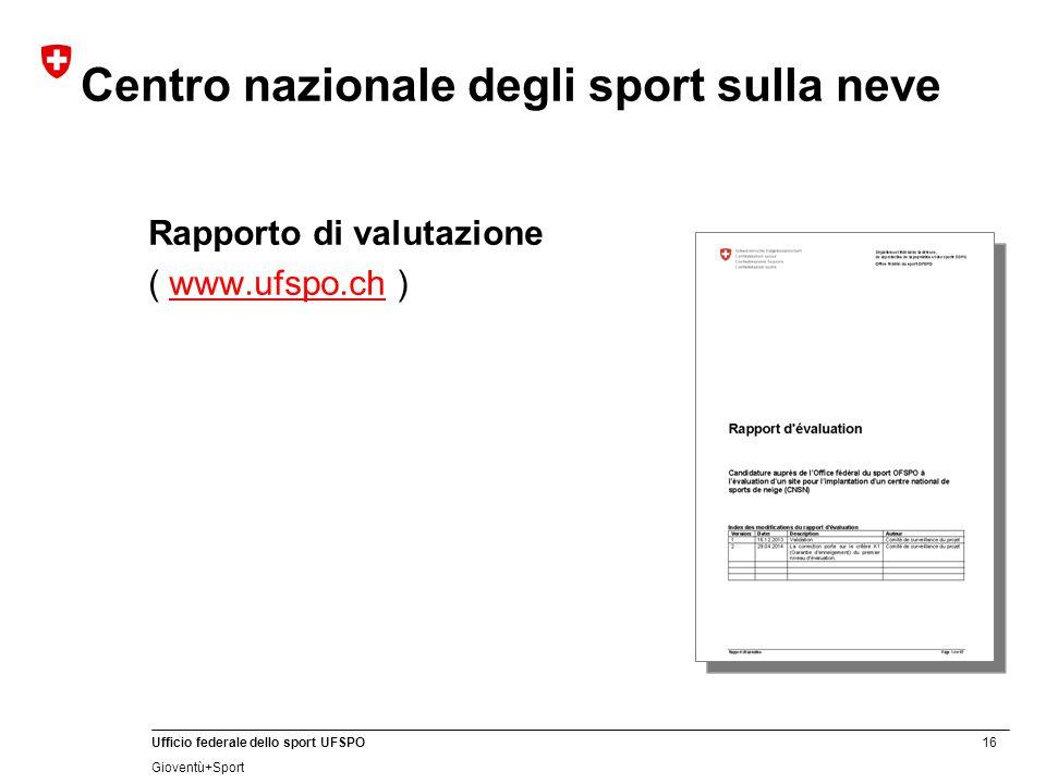16 Ufficio federale dello sport UFSPO Gioventù+Sport Centro nazionale degli sport sulla neve Rapporto di valutazione ( www.ufspo.ch )www.ufspo.ch