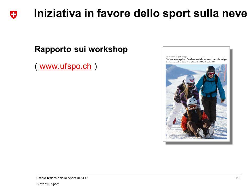 19 Ufficio federale dello sport UFSPO Gioventù+Sport Iniziativa in favore dello sport sulla neve Rapporto sui workshop ( www.ufspo.ch )www.ufspo.ch