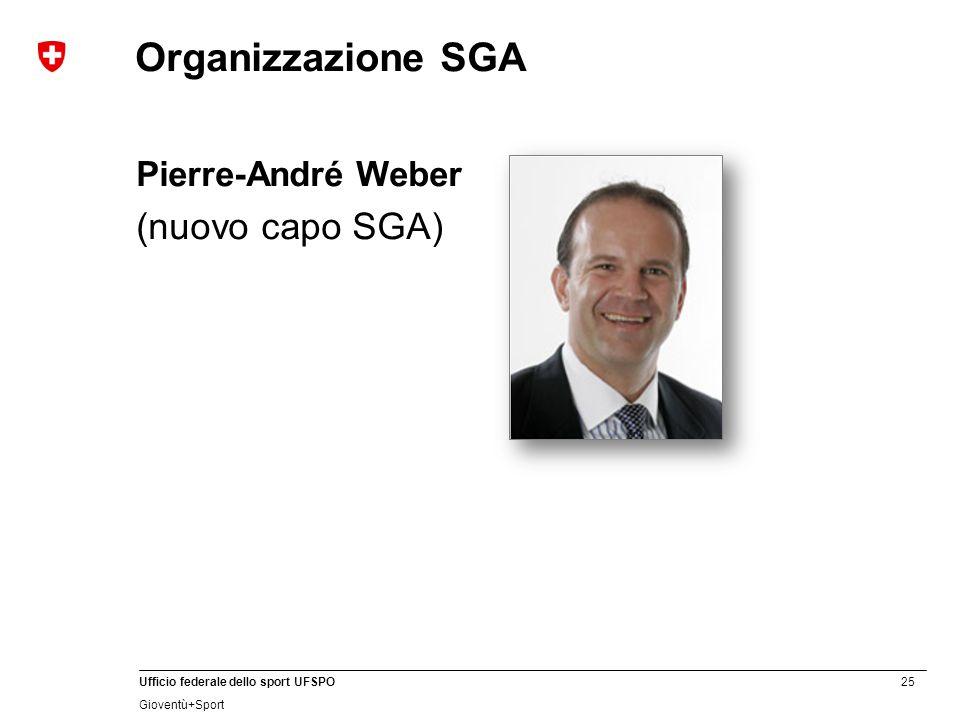 25 Ufficio federale dello sport UFSPO Gioventù+Sport Organizzazione SGA Pierre-André Weber (nuovo capo SGA)
