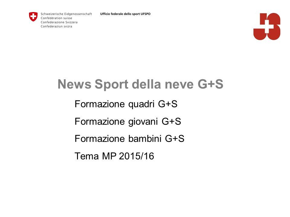 News Sport della neve G+S Formazione quadri G+S Formazione giovani G+S Formazione bambini G+S Tema MP 2015/16