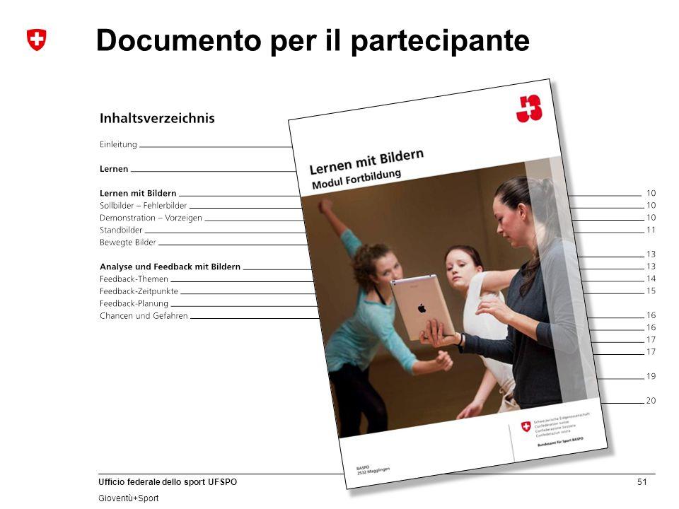 51 Ufficio federale dello sport UFSPO Gioventù+Sport Documento per il partecipante