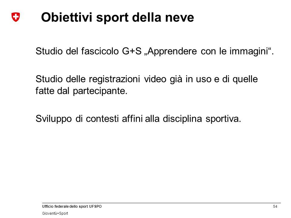"""54 Ufficio federale dello sport UFSPO Gioventù+Sport Obiettivi sport della neve Studio del fascicolo G+S """"Apprendere con le immagini ."""