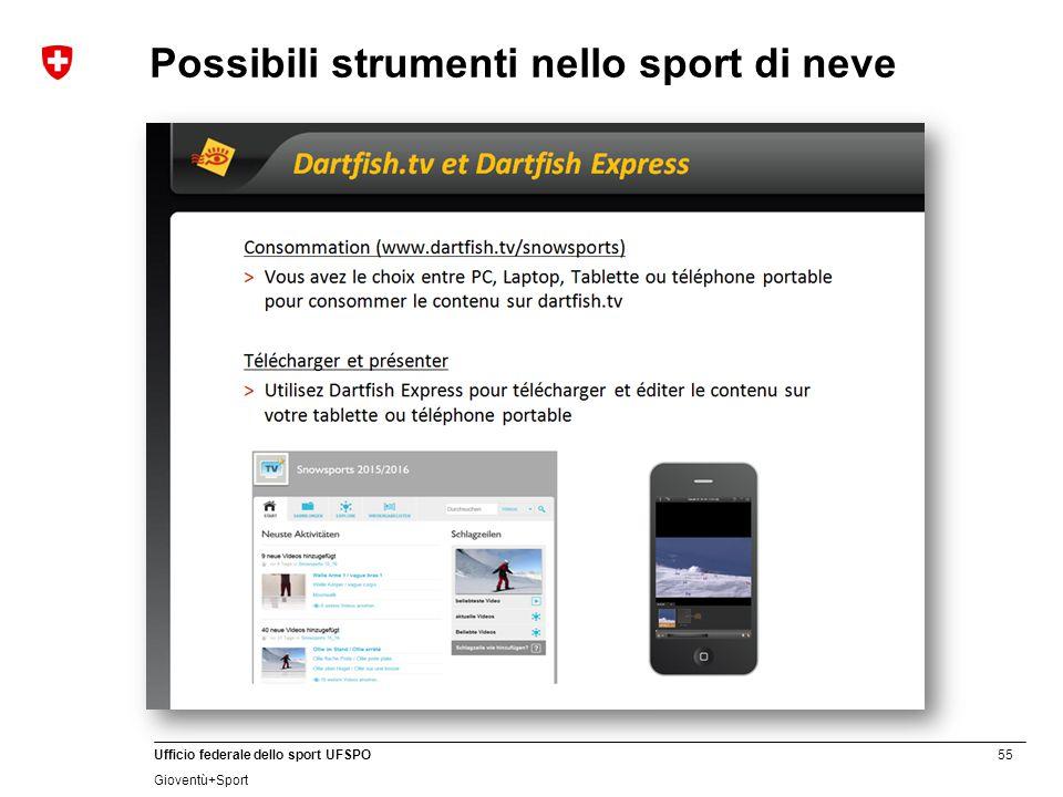 55 Ufficio federale dello sport UFSPO Gioventù+Sport Possibili strumenti nello sport di neve Dartfish (www.dartfish.com)www.dartfish.com