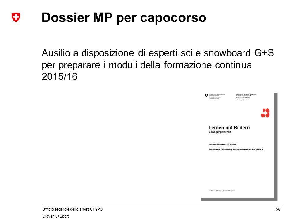58 Ufficio federale dello sport UFSPO Gioventù+Sport Dossier MP per capocorso Ausilio a disposizione di esperti sci e snowboard G+S per preparare i moduli della formazione continua 2015/16