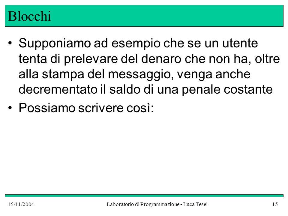 15/11/2004Laboratorio di Programmazione - Luca Tesei15 Blocchi Supponiamo ad esempio che se un utente tenta di prelevare del denaro che non ha, oltre alla stampa del messaggio, venga anche decrementato il saldo di una penale costante Possiamo scrivere così: