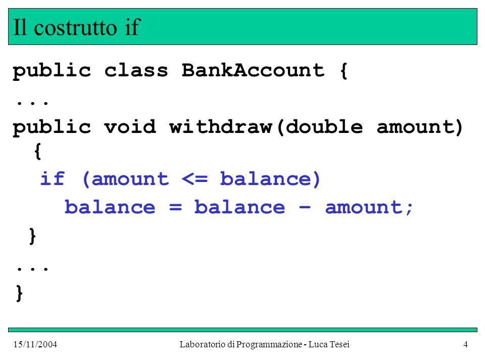 15/11/2004Laboratorio di Programmazione - Luca Tesei5 Il costrutto if In questo modo l'assegnamento balance = balance – amount ; viene eseguito solo se la condizione tra parentesi tonde è vera.