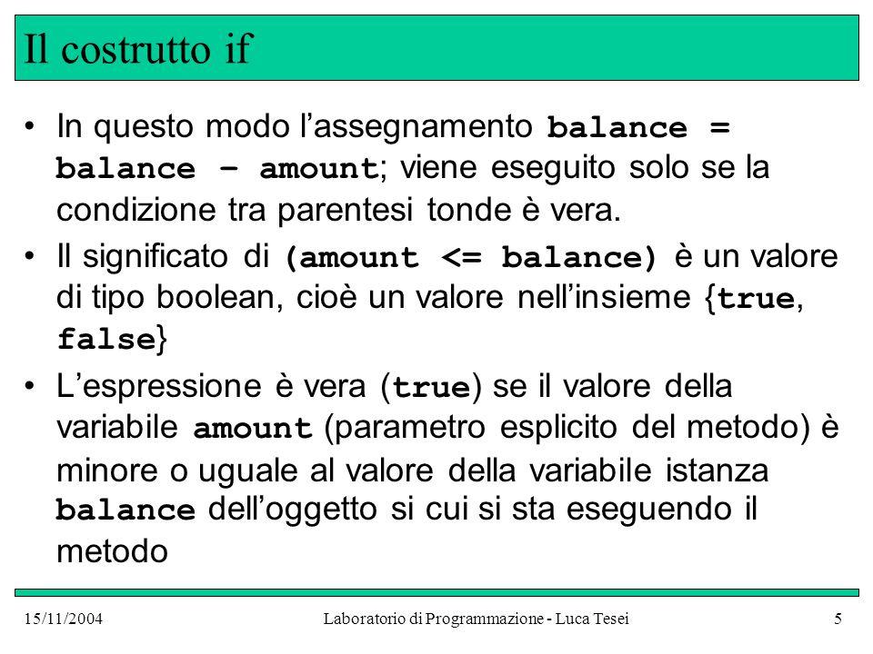 15/11/2004Laboratorio di Programmazione - Luca Tesei26 Visibilità delle variabili e blocchi public void withdraw(double amount) { double newBalance = balance – amount; if (newBalance >= 0) balance = newBalance; else { System.out.println( Importo Richiesto Non Disponibile ); { // Nuovo Blocco // non posso ridichiarare newBalance double penaltyBalance = balance – PENALE; balance = penaltyBalance; } // penaltyBalance non esiste più.