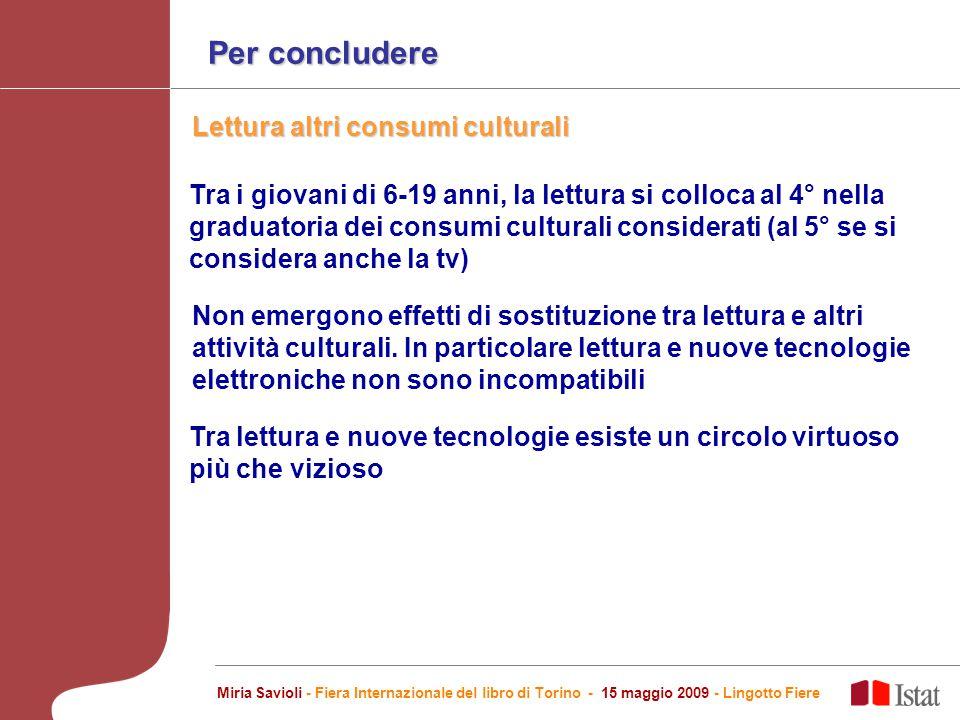 Per concludere Non emergono effetti di sostituzione tra lettura e altri attività culturali.