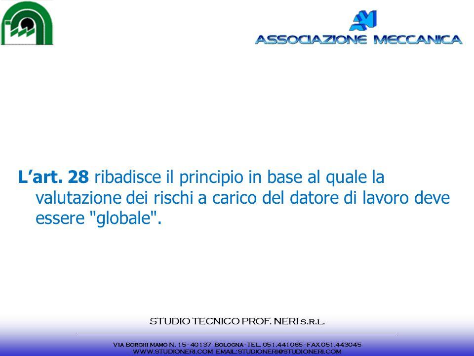L'art. 28 ribadisce il principio in base al quale la valutazione dei rischi a carico del datore di lavoro deve essere