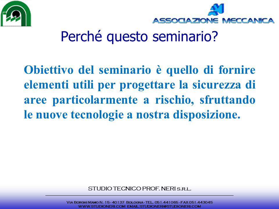 Perché questo seminario? Obiettivo del seminario è quello di fornire elementi utili per progettare la sicurezza di aree particolarmente a rischio, sfr