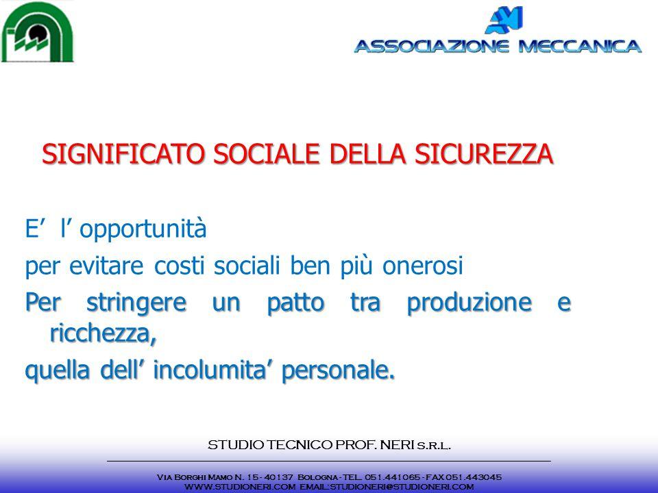 SIGNIFICATO SOCIALE DELLA SICUREZZA E' l' opportunità per evitare costi sociali ben più onerosi Per stringere un patto tra produzione e ricchezza, que