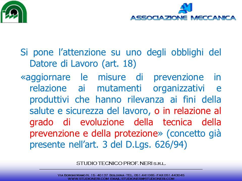 Si pone l'attenzione su uno degli obblighi del Datore di Lavoro (art. 18) «aggiornare le misure di prevenzione in relazione ai mutamenti organizzativi