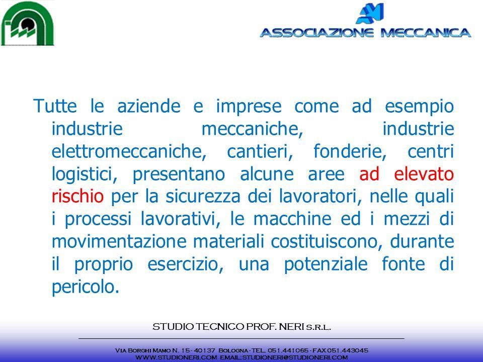 Tutte le aziende e imprese come ad esempio industrie meccaniche, industrie elettromeccaniche, cantieri, fonderie, centri logistici, presentano alcune