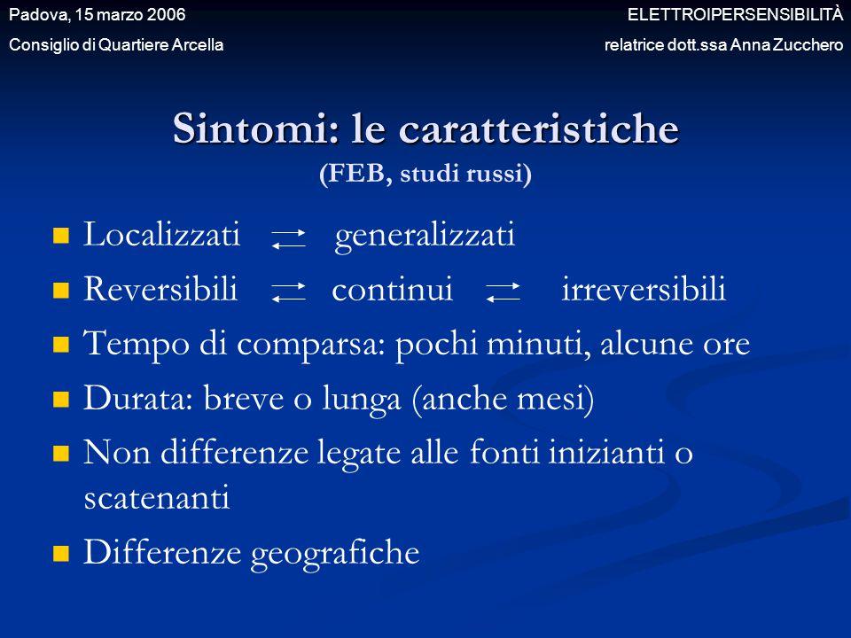 Sintomi: le caratteristiche Sintomi: le caratteristiche (FEB, studi russi) Localizzati generalizzati Reversibili continui irreversibili Tempo di compa