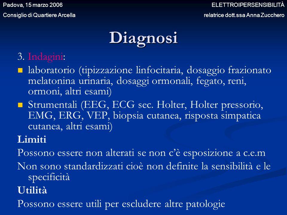 3. Indagini: laboratorio (tipizzazione linfocitaria, dosaggio frazionato melatonina urinaria, dosaggi ormonali, fegato, reni, ormoni, altri esami) Str