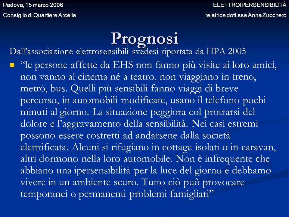"""Prognosi Dall'associazione elettrosensibili svedesi riportata da HPA 2005 """"le persone affette da EHS non fanno più visite ai loro amici, non vanno al"""