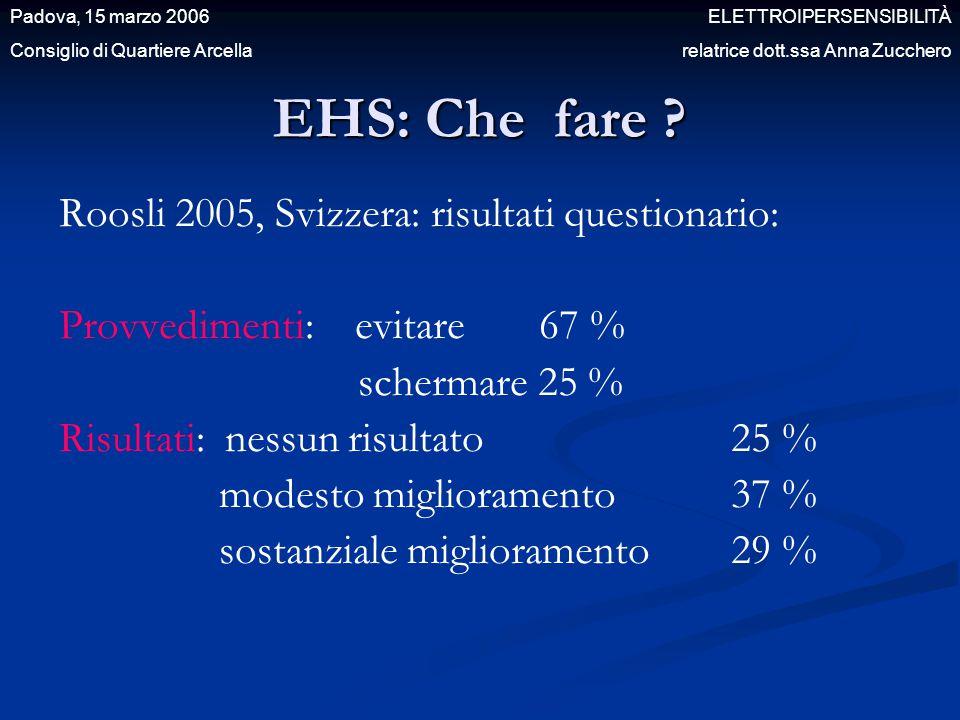 EHS: Che fare ? Roosli 2005, Svizzera: risultati questionario: Provvedimenti: evitare 67 % schermare 25 % Risultati: nessun risultato 25 % modesto mig
