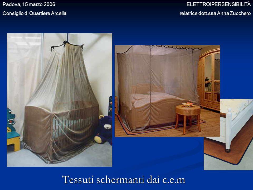 Tessuti schermanti dai c.e.m Padova, 15 marzo 2006 ELETTROIPERSENSIBILITÀ Consiglio di Quartiere Arcella relatrice dott.ssa Anna Zucchero