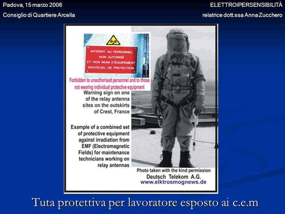 Tuta protettiva per lavoratore esposto ai c.e.m Padova, 15 marzo 2006 ELETTROIPERSENSIBILITÀ Consiglio di Quartiere Arcella relatrice dott.ssa Anna Zu