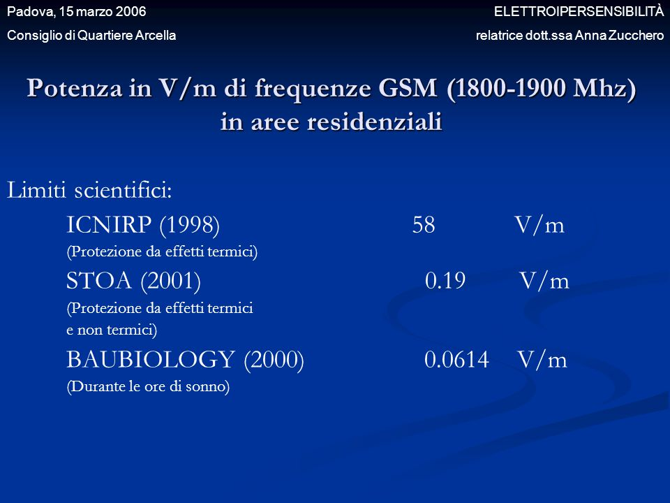 Potenza in V/m di frequenze GSM (1800-1900 Mhz) in aree residenziali Limiti scientifici: ICNIRP (1998) 58 V/m (Protezione da effetti termici) STOA (20