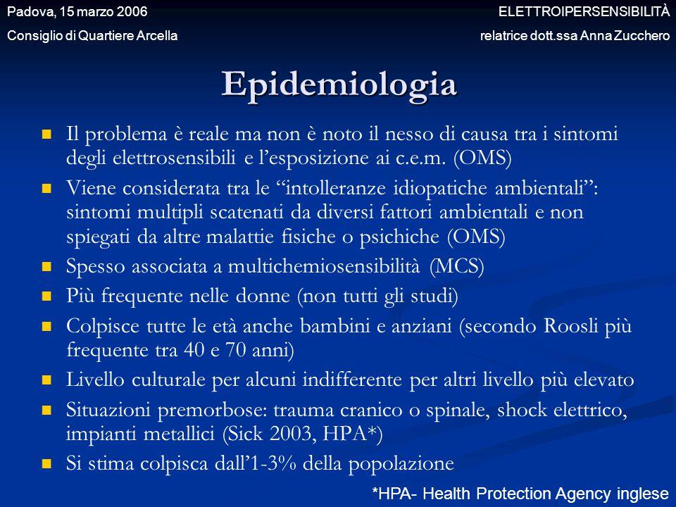 Epidemiologia Il problema è reale ma non è noto il nesso di causa tra i sintomi degli elettrosensibili e l'esposizione ai c.e.m. (OMS) Viene considera