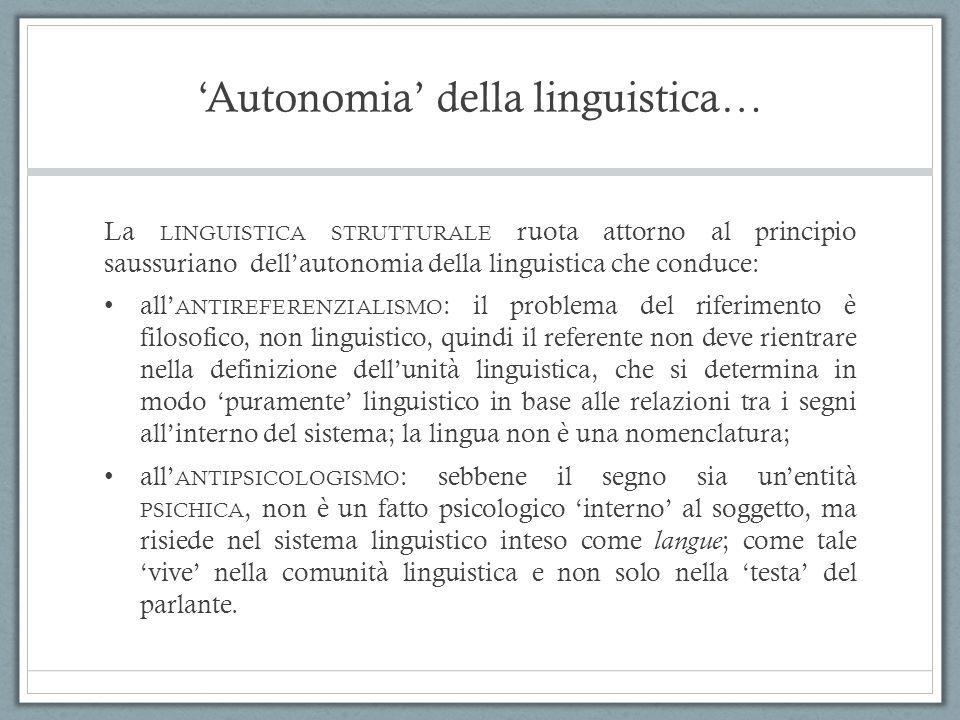 'Autonomia' della linguistica… La LINGUISTICA STRUTTURALE ruota attorno al principio saussuriano dell'autonomia della linguistica che conduce: all' AN