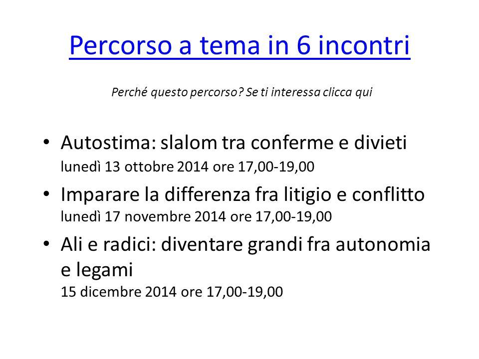 Percorso a tema in 6 incontri Autostima: slalom tra conferme e divieti lunedì 13 ottobre 2014 ore 17,00-19,00 Imparare la differenza fra litigio e con