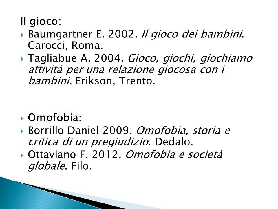 Il gioco:  Baumgartner E. 2002. Il gioco dei bambini. Carocci, Roma.  Tagliabue A. 2004. Gioco, giochi, giochiamo attività per una relazione giocosa