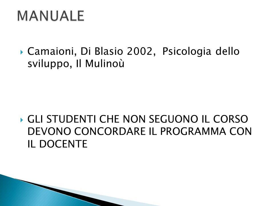  Camaioni, Di Blasio 2002, Psicologia dello sviluppo, Il Mulinoù  GLI STUDENTI CHE NON SEGUONO IL CORSO DEVONO CONCORDARE IL PROGRAMMA CON IL DOCENT