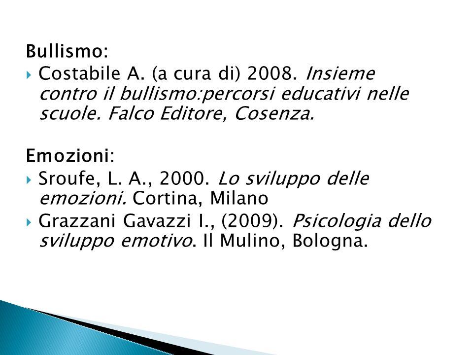 Bullismo:  Costabile A. (a cura di) 2008. Insieme contro il bullismo:percorsi educativi nelle scuole. Falco Editore, Cosenza. Emozioni:  Sroufe, L.