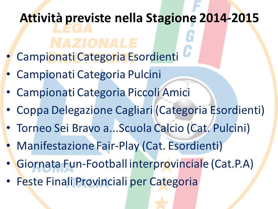 Attività previste nella Stagione 2014-2015 Campionati Categoria Esordienti Campionati Categoria Pulcini Campionati Categoria Piccoli Amici Coppa Deleg