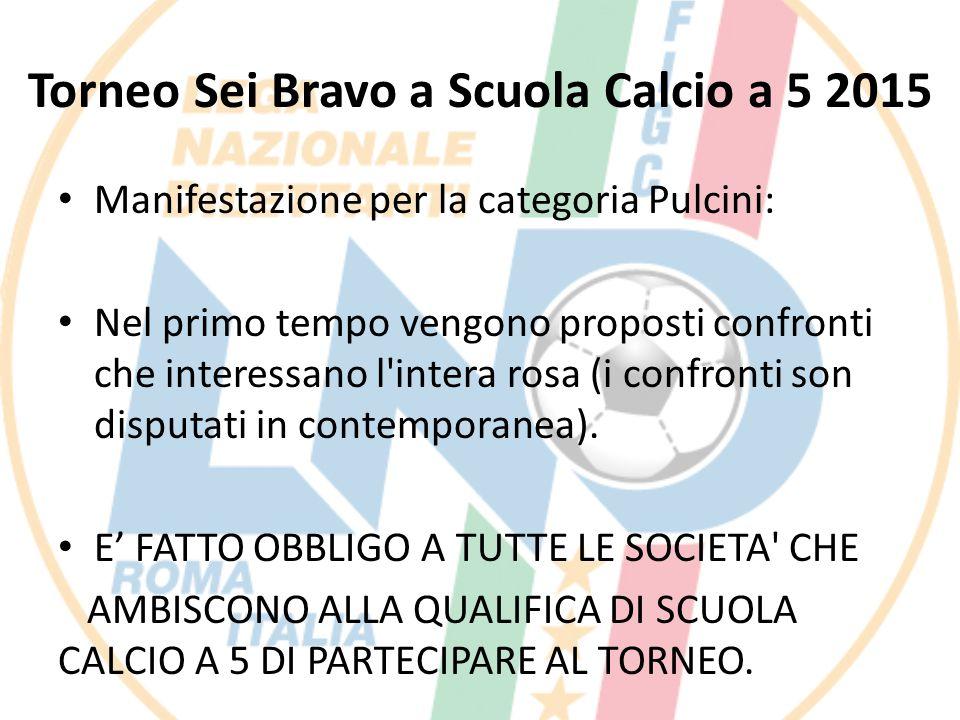 Torneo Sei Bravo a Scuola Calcio a 5 2015 Manifestazione per la categoria Pulcini: Nel primo tempo vengono proposti confronti che interessano l'intera
