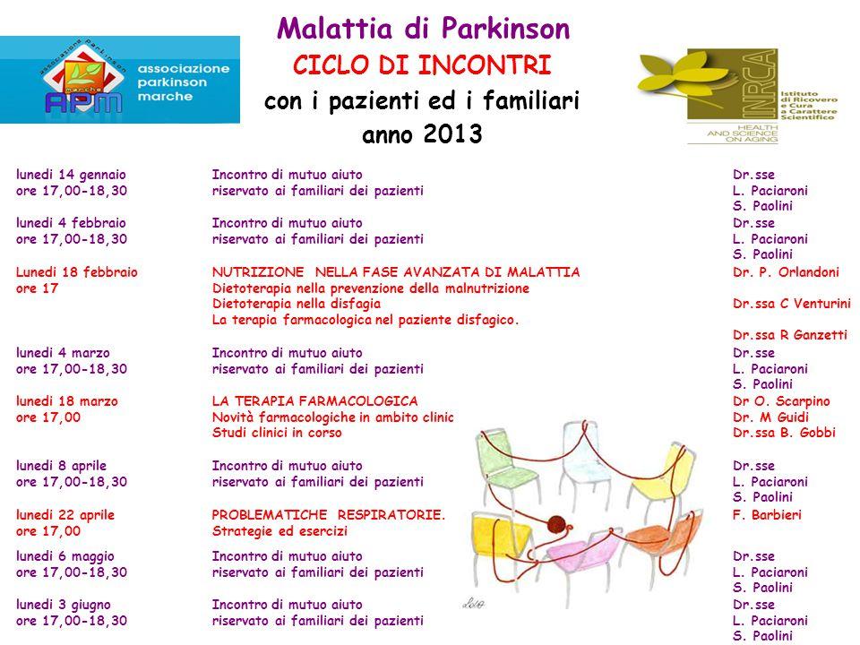 Malattia di Parkinson CICLO DI INCONTRI con i pazienti ed i familiari anno 2013 lunedi 14 gennaio ore 17,00-18,30 Incontro di mutuo aiuto riservato ai familiari dei pazienti Dr.sse L.