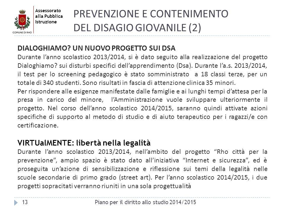 Assessorato alla Pubblica Istruzione 13 PREVENZIONE E CONTENIMENTO DEL DISAGIO GIOVANILE (2) Piano per il diritto allo studio 2014/2015 DIALOGHIAMO? U