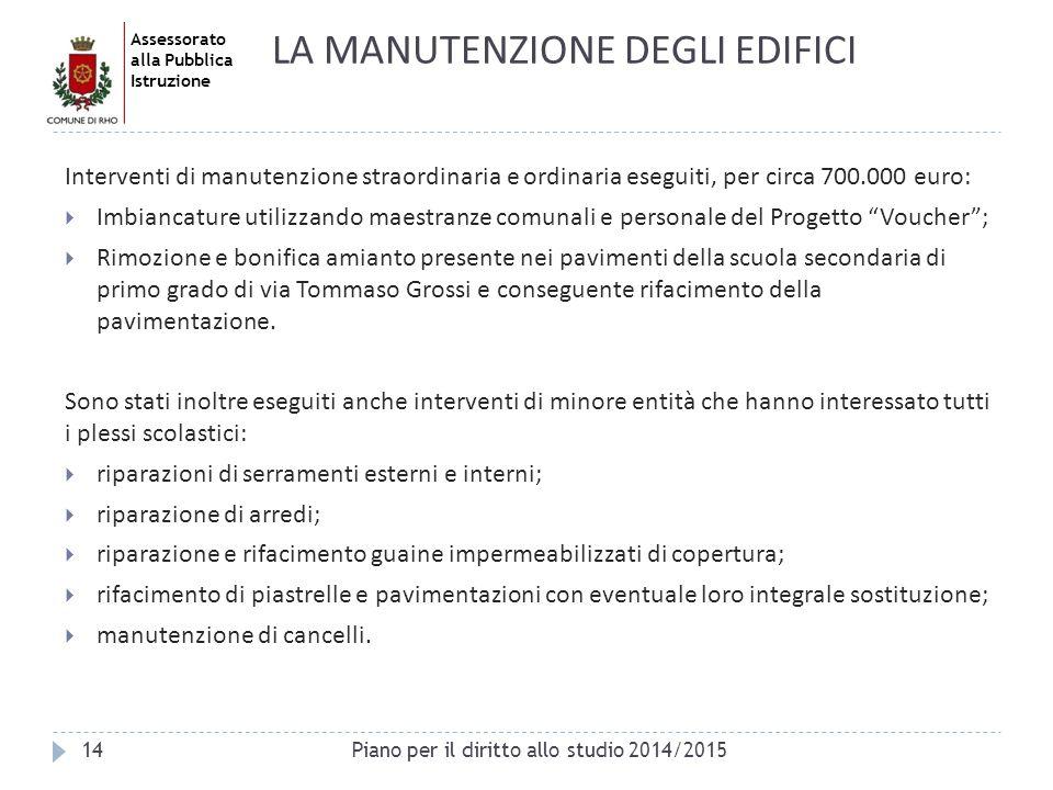 Assessorato alla Pubblica Istruzione Interventi di manutenzione straordinaria e ordinaria eseguiti, per circa 700.000 euro:  Imbiancature utilizzando