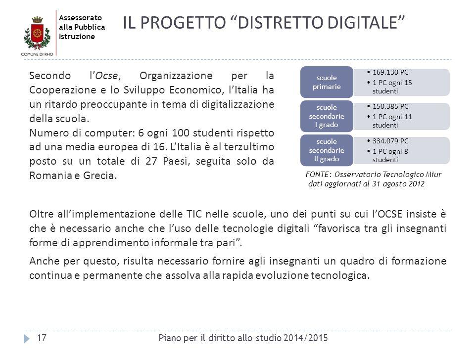 Assessorato alla Pubblica Istruzione FONTE: Osservatorio Tecnologico Miur dati aggiornati al 31 agosto 2012 17Piano per il diritto allo studio 2014/20