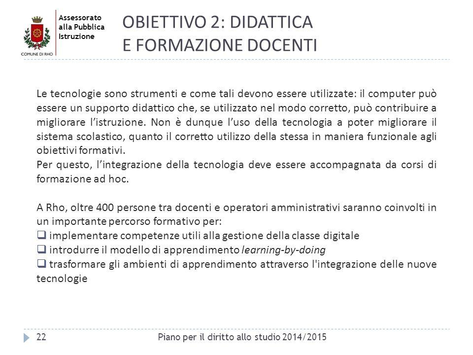 Assessorato alla Pubblica Istruzione 22 Le tecnologie sono strumenti e come tali devono essere utilizzate: il computer può essere un supporto didattic