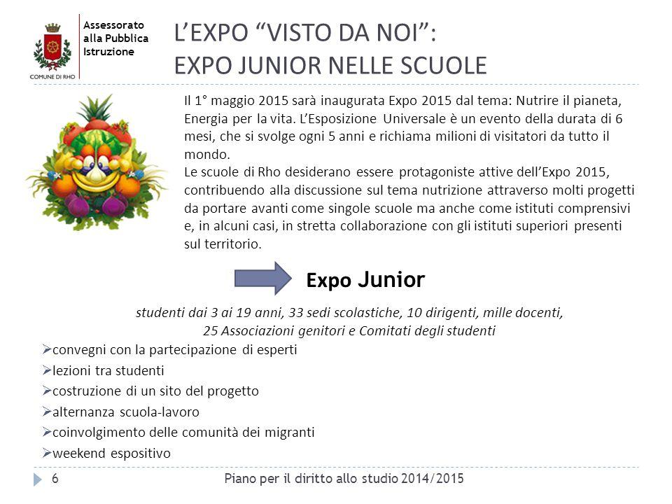 """Assessorato alla Pubblica Istruzione 6 L'EXPO """"VISTO DA NOI"""": EXPO JUNIOR NELLE SCUOLE Expo Junior Il 1° maggio 2015 sarà inaugurata Expo 2015 dal tem"""