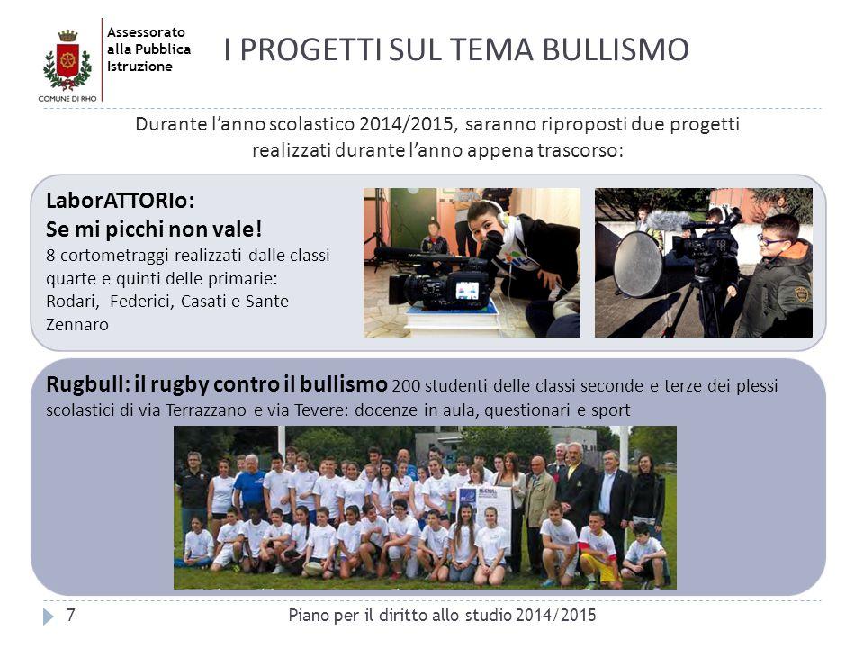 Assessorato alla Pubblica Istruzione 7 I PROGETTI SUL TEMA BULLISMO Durante l'anno scolastico 2014/2015, saranno riproposti due progetti realizzati du