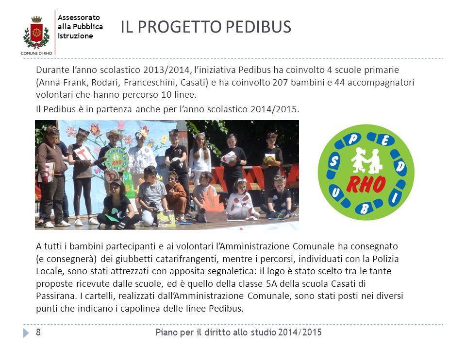Assessorato alla Pubblica Istruzione 8 IL PROGETTO PEDIBUS Durante l'anno scolastico 2013/2014, l'iniziativa Pedibus ha coinvolto 4 scuole primarie (A