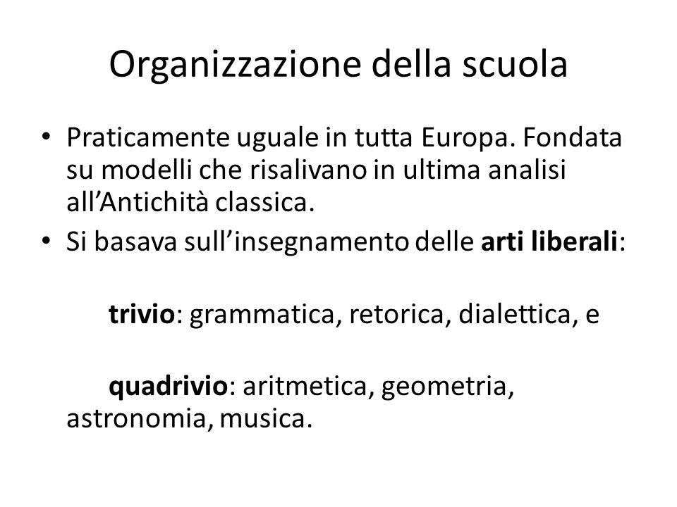 Organizzazione della scuola Praticamente uguale in tutta Europa. Fondata su modelli che risalivano in ultima analisi all'Antichità classica. Si basava