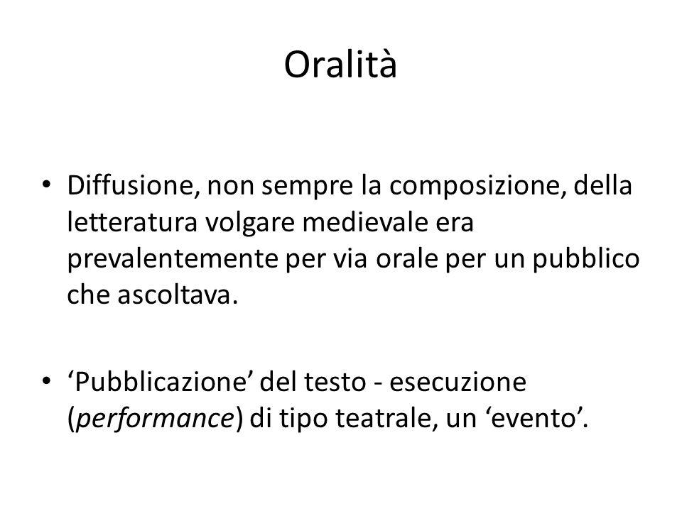Oralità Diffusione, non sempre la composizione, della letteratura volgare medievale era prevalentemente per via orale per un pubblico che ascoltava. '