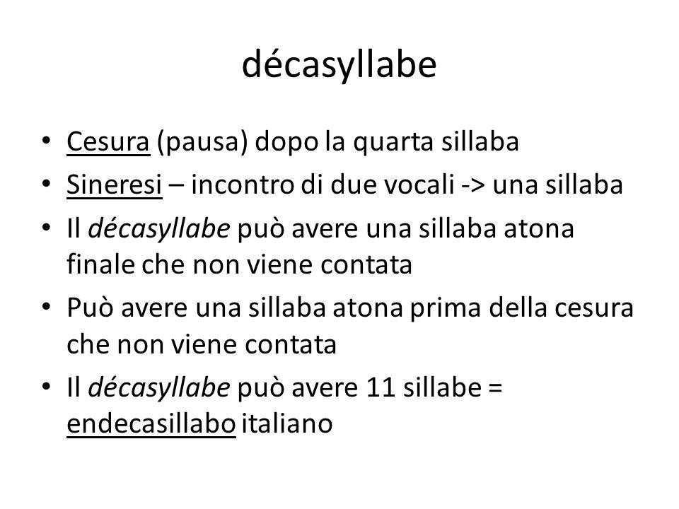 décasyllabe Cesura (pausa) dopo la quarta sillaba Sineresi – incontro di due vocali -> una sillaba Il décasyllabe può avere una sillaba atona finale c