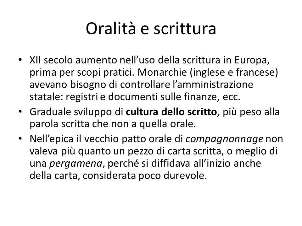Oralità e scrittura XII secolo aumento nell'uso della scrittura in Europa, prima per scopi pratici. Monarchie (inglese e francese) avevano bisogno di