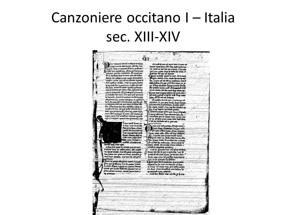 Canzoniere occitano I – Italia sec. XIII-XIV