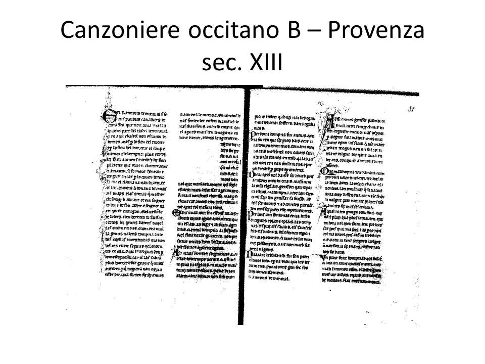 Canzoniere occitano B – Provenza sec. XIII