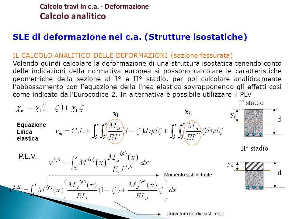 SLE di deformazione nel c.a. (Strutture isostatiche) IL CALCOLO ANALITICO DELLE DEFORMAZIONI (sezione fessurata) Volendo quindi calcolare la deformazi