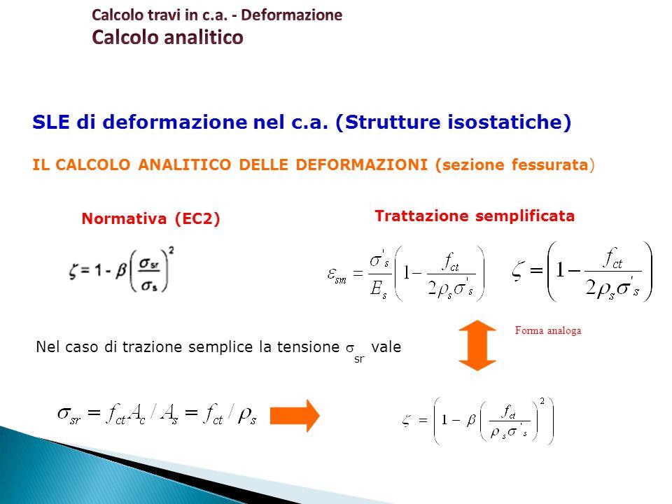 SLE di deformazione nel c.a. (Strutture isostatiche) IL CALCOLO ANALITICO DELLE DEFORMAZIONI (sezione fessurata) Trattazione semplificata Normativa (E