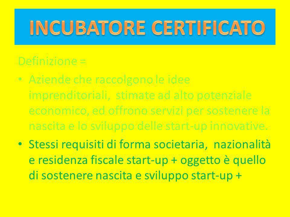 Definizione = Aziende che raccolgono le idee imprenditoriali, stimate ad alto potenziale economico, ed offrono servizi per sostenere la nascita e lo s
