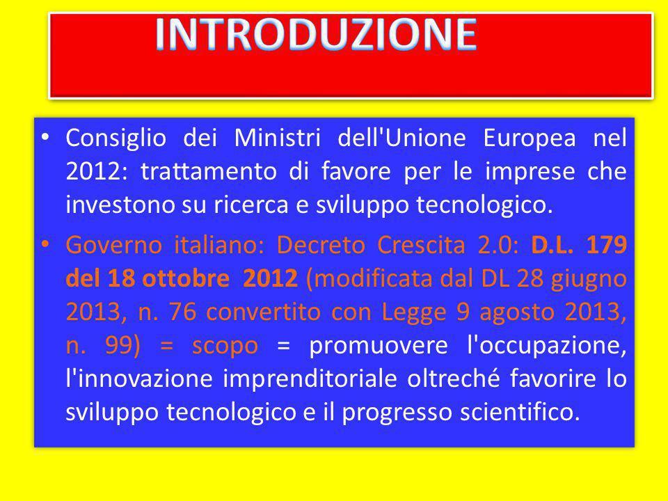 Consiglio dei Ministri dell'Unione Europea nel 2012: trattamento di favore per le imprese che investono su ricerca e sviluppo tecnologico. Governo ita